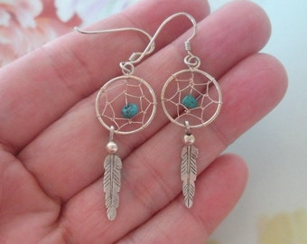 Vintage Sterling Silver Turquoise DREAMCATCHER FEATHER Dangle Pierced Earrings Southwestern Native American Dream Catcher Earrings