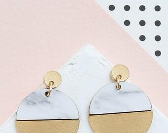 Circle Earrings, Scandinavian Design, Geometric Earrings, FORMICA® Earrings, Minimalist Design