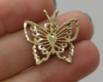 SALE... Solid 14 K Gold Diamond Cut Pendant Butterfly - Stunning , so unique and so  Very Elegant