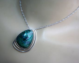 SALE...Large 925 Sterling Silver Native American Navajo  Turquoise Pendant Necklace/Brooch   - STUNNING