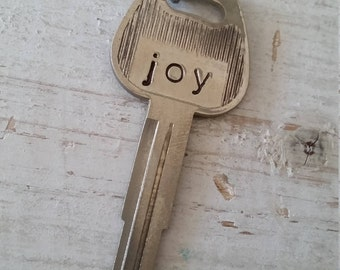 Hand Stamped Vintage Key Necklace Joy