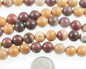 """Round Gemstone Beads-Mookaite 15"""" Strand 8mm (46)"""