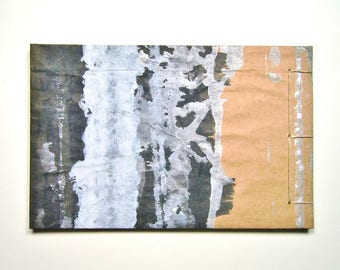 Artist's Sketchbook, Silver and Black, Stab Bound with Up Cycled Materials and Hand Painted Cover
