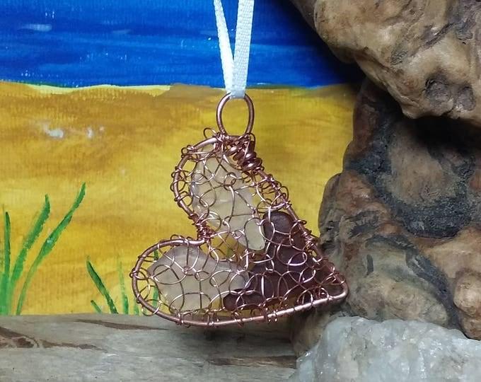 Sea Glass Heart Ornament - Copper Ornament - South Shore Beach Glass Lake Michigan Beach Glass Sun Catcher - Rear View Mirror Charm