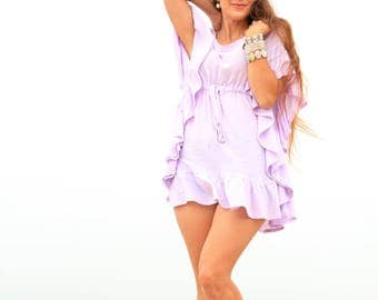 Mini Caftan with Ruffles - Beach Cover Up Dress - Kaftan in Lavender Cotton Gauze - 20 Colors