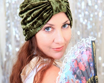 Turban in Olive Crushed Velvet - Women's Hair Turbans - Fashion Headwrap in Army Green - Lots of Colors