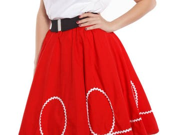 50s Retro Red Circle Skirt with White Ric Rac Loops - Vintage Inspired for Pinup, Swing, 50s Style - size Large / XLarge