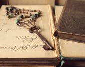 RESERVED ... The Woodsman's Cabin Storyteller Necklace. Rustic, Boho Jewelry, Moss Agate & Skeleton Key Beaded Necklace.