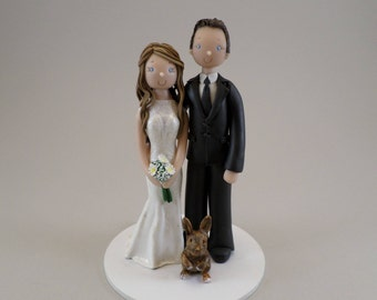 Bride & Groom with a Bunny Personalized Wedding Cake Topper - reserved for jessieemariie