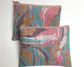 Cork Leather Coin Purse, Card Zip Wallet - Marbled Pastel