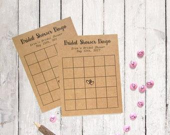 Custom Bingo Cards - Bridal Bingo Cards - Heart Theme - Bridal Shower Bingo - Personalized Bingo Card - Rustic Bridal Shower - Blank Cards