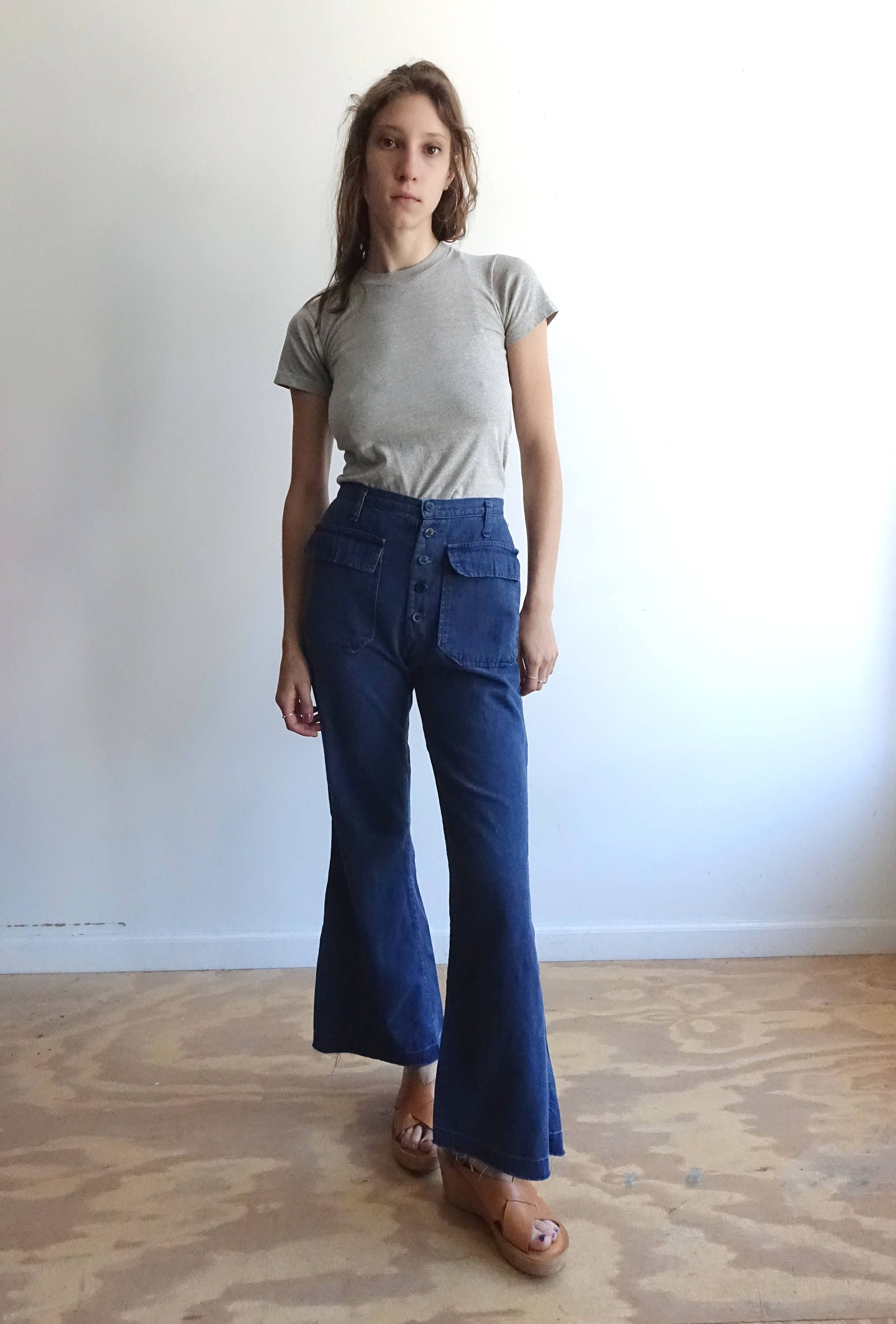 Vintage 70s Sailor Pants/ High Waisted Dark Wash Bell Bottom Denim/ Patch Pockets/ Button Fly/ by bottleofbread