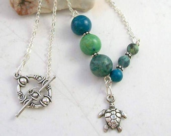 Kauila Turquoise Sea Turtle Necklace- Asymmetrical, Silver, Handmade, Ocean Totem Animal, Free US Shipping, Metaphysical Jewelry, Good Luck