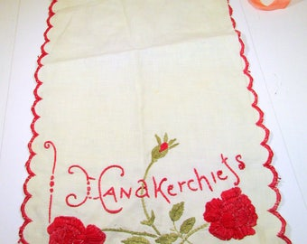 Vintage Handkerchief Keeper Hanky Bag Hankie Holder Arts and Crafts Embroidered Roses Hankerchief Laundry Bag