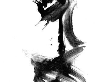 Abstract art, black and white, A2 giclee print