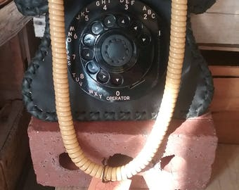 Dial&Cord Hand-Made Leather Handbag Purse with re-purposed Antique Phone parts