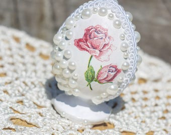 Decorated Easter Egg, Collectible Egg, pearl egg, Beautiful egg Gift, gift for collectors, egg decorations, home decor, Easter egg,