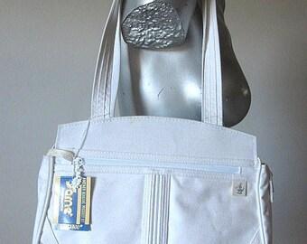Vintage 80s Dead Stock Sarne' White Canvas Shoulder Bag