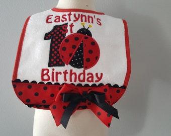 Ladybug bibs, red ladybug birthday bib, 1st birthday party, 2nd birthday party, smash cake bib,  ladybug birthday, smash cake photo