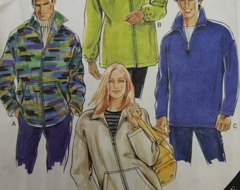Newlook 6672 Unisex Fleece Jacket Pattern Zippered Casual Sweatjacket Pattern Size small to XXLarge