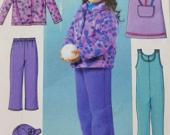 Childrens Fleece Clothing Pattern Butterick B4335 Childrens Pattern Jacket Jumper Jumpsuit Pants and Hat Pattern