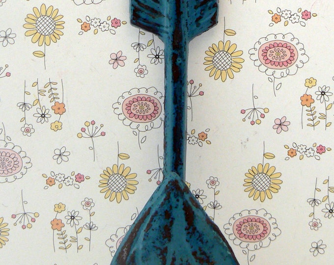 Arrow Cast Iron Boho Shabby Chic Wall Hook Teal Blue Bohemian Home Decor