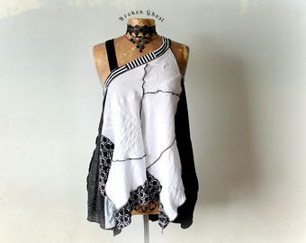 White Linen Tank Off Shoulder Top Boho Clothing Women's Art Shirt Recycled Clothes Flirty Swingy Top Black White Summer Fashion S M 'OLIVIA'