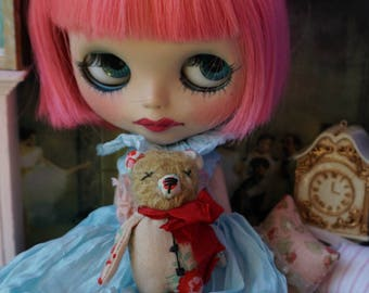 """Kawaii Pocket Pal - 3"""" Mohair Tiny Teddy Bear for Blythe Dolls - Shabby Kawaii Style Bear"""