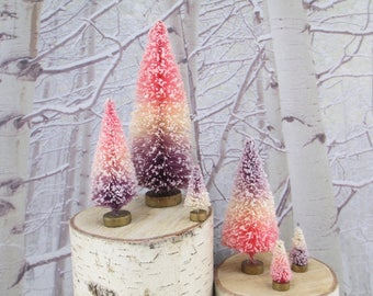 6 Vintage Style Bottle Brush Trees Pink Purple Cream Forest Striped Ombre Mica Lot Bottlebrush Christmas Tree Tiny Diorama Lavender Sisal