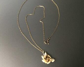 Rose Necklace - Vintage Gold Filled Textured Rose Petals and Polished Leaves - Signed R Inc 14KT GF