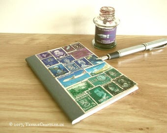 Peacock Colours Address Book Planner, Recycled Postage Stamp Landscape