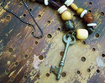 Wood and Bone Beaded Necklace with vintage Skeleton Key - Boho chic - Bohemian jewelry - One of a Kind - bycat