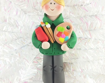 Male Artist Christmas Ornament - Gift for Male Artist - Male Art Teacher Christmas Tree Ornament - Male Art Teacher's Gift -81812
