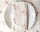 Hand Printed Flour Sack Napkins, Eco Friendly Cloth Napkins, Set of 4