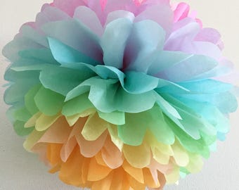 PASTEL RAINBOW / 1 tissue paper pompom / birthday party decor / unicorn party / pastel decoration / rainbow theme