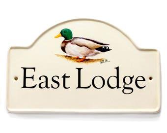 hand painted ceramic address plaque/ceramic house plaque/custom house number/custom address plaque