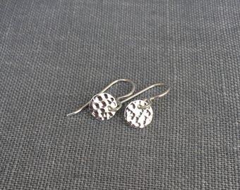 Dangling Silver Earrings - Hammered Silver Earrings - Silver Drop Earrings - Modern Silver - Moon Earrings - Dainty - Minimalist Silver