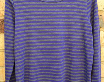 Purple & Grey stripe knit T shirt