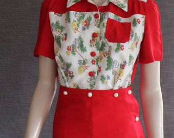 The CHRISSY Playsuit - a 1940s Vintage Reproduction - Pleated Shorts with attached Blouse, WW11, vintage pattern, 40s, retro, pinup, classic