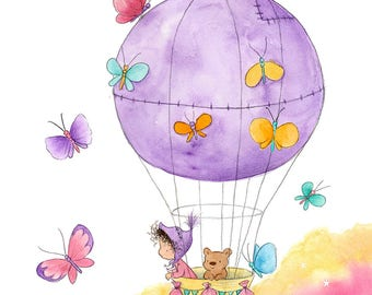 Butterfly Balloon - Toddler Baby in Hot Air Balloon with Teddy Bear - White Skin -  Art Print