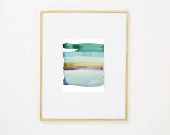 """Abstract Waterscape, Original Minimal Watercolor Painting, blue, green, teal, turquoise, purple, brown 8 x 10"""" painting on paper, modern art"""