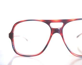 Vintage 1980s Aviator Mens Eyeglasses Oversized Glasses Dark Amber Tortoiseshell Tortoise Shell 80s Eighties Huge Sunglasses Sunnies Retro