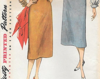 Simplicity 4254 1950s Simple to Make Pencil Skirt Vintage Sewing Pattern Waist 28