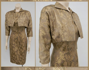 True Vintage 1950's 60's wiggle dress with cropped bolero jacket tan and gold jacquard bombshell