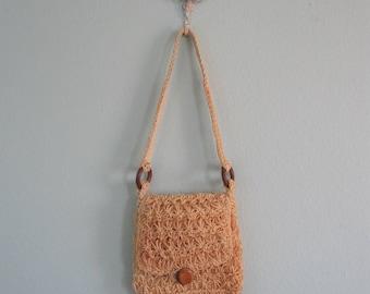 Rustic 70s Macrame Handbag - Vintage Jute Rope Shoulder Bag with Wood Hardware - Vintage 1970s Bag