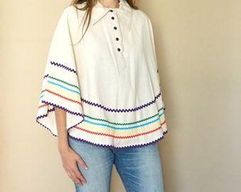 vintage 70s rainbow striped poncho S-M