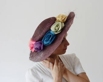As Is 1980s Purple Beverly Feldman Wide Brim Hat