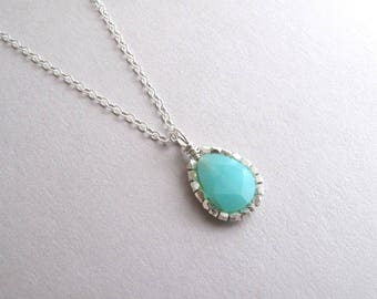 Peruvian Blue Opal Necklace, Blue Opal Pendant Necklace, Sterling Silver Gemstone Necklace