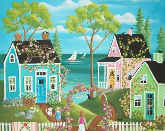 Folk Art Print~Everything is Coming Up Roses