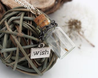 Dandelion seed glass vial pendant with wish charm on chain- Last wish- spring summer gift jewelry- Wholesale and wedding favours available